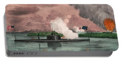 Ironclad Monitor Montauk Destroying Rebel Steamship - 1863 Portable Battery Charger