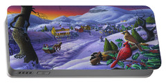 Christmas Sleigh Ride Winter Landscape Oil Painting - Cardinals Country Farm - Small Town Folk Art Portable Battery Charger
