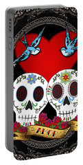 Love Skulls II Portable Battery Charger by Tammy Wetzel
