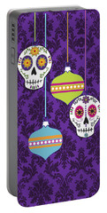 Feliz Navidad Holiday Sugar Skulls Portable Battery Charger