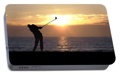Portable Battery Charger featuring the photograph Playing Golf At Sunset by Phil Perkins