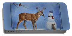 Whitetail Deer And Snowman - Whose Carrot? Portable Battery Charger