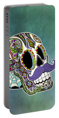 Mustache Sugar Skull Portable Battery Charger by Tammy Wetzel