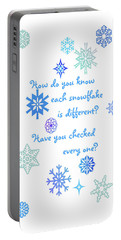 Snowflakes Portable Battery Charger by Methune Hively