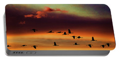 Sandhill Cranes Take The Sunset Flight Portable Battery Charger