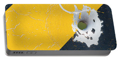 Bullet Hole On The Yellow Black Line Portable Battery Charger by Bill Kesler