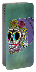 Portable Battery Charger featuring the drawing Catrina Sugar Skull by Tammy Wetzel