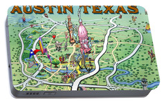 Portable Battery Charger featuring the painting Austin Texas by Kevin Middleton