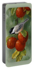 Bird Painting - Apple Harvest Chickadees Portable Battery Charger
