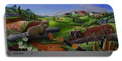 Farm Folk Art - Groundhog Spring Appalachia Landscape - Rural Country Americana - Woodchuck Portable Battery Charger