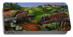 Farm Folk Art - Groundhog Spring Appalachia Landscape - Rural Country Americana - Woodchuck Portable Battery Charger