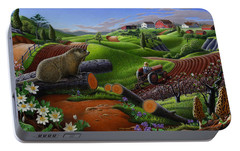 Farm Folk Art - Groundhog Spring Appalachia Landscape - Rural Country Americana - Woodchuck Portable Battery Charger by Walt Curlee