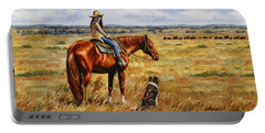 Horse Painting - Waiting For Dad Portable Battery Charger