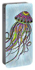 Portable Battery Charger featuring the drawing Electric Jellyfish by Tammy Wetzel
