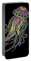 Portable Battery Charger featuring the drawing Electric Jellyfish On Black by Tammy Wetzel