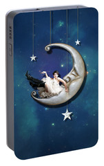 Portable Battery Charger featuring the digital art Paper Moon by Linda Lees