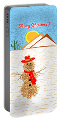 Tumbleweed Snowman Christmas Card Portable Battery Charger by Methune Hively