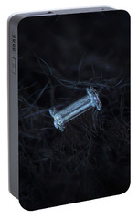 Portable Battery Charger featuring the photograph Snowflake Photo - Capped Column by Alexey Kljatov