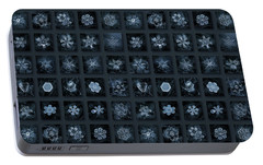 Portable Battery Charger featuring the photograph Snowflake Collage - Season 2013 Dark Crystals by Alexey Kljatov