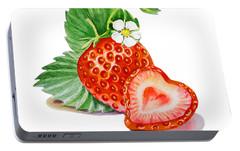 Artz Vitamins A Strawberry Heart Portable Battery Charger by Irina Sztukowski