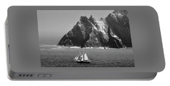 Asgard II Between The Skelligs. Kerry, Ireland.    Black And White Portable Battery Charger