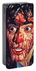 Portable Battery Charger featuring the painting Ash Williams by Taylan Apukovska