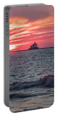 Ashtabula Ohio Lighthouse At Sunset  Portable Battery Charger