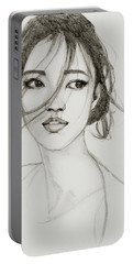 Portable Battery Charger featuring the drawing Asian Girl by Jani Freimann
