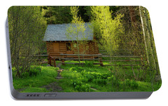 Portable Battery Charger featuring the photograph Aspen Cabin by Leland D Howard