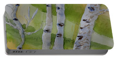 Portable Battery Charger featuring the painting Aspen Trunks by Beverley Harper Tinsley