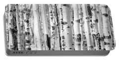 Portable Battery Charger featuring the photograph Aspens In Black And White  by Saija Lehtonen