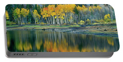 Aspens In Fall Color Along Lundy Lake Eastern Sierras California Portable Battery Charger by Dave Welling
