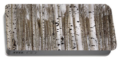 Aspens In Winter Panorama - Colorado Portable Battery Charger
