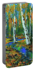 Portable Battery Charger featuring the painting Aspens by Jeanette French