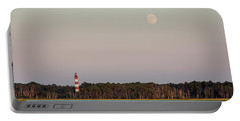 Assateague Light And The Full Moon Portable Battery Charger