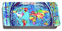 Astronaut World Map 2 Portable Battery Charger by Bekim Art