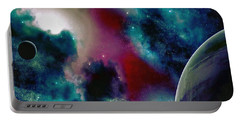 Astronomy Painting Glammed Out Teal Portable Battery Charger