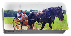 Horse And Buggy At Mount Vernon Portable Battery Charger