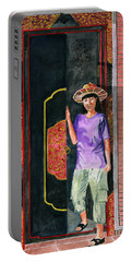 Portable Battery Charger featuring the painting At Puri Kelapa by Melly Terpening