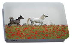 Portable Battery Charger featuring the photograph At The Poppies' Field... by Dubi Roman