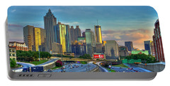 Portable Battery Charger featuring the photograph Atlanta Coca-cola Sunset Reflections Art by Reid Callaway