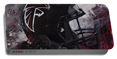Portable Battery Charger featuring the painting Atlanta Falcons Football Wall Art Falcons Fan Gift by Gray Artus