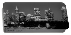 Atlanta Skyline At Night Downtown Midtown Black And White Bw Panorama Portable Battery Charger