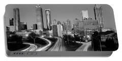Atlanta Skyline In Morning Downtown Light Trails Bw Black And White Portable Battery Charger