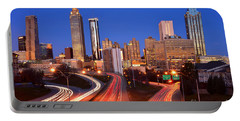 Atlanta Skyline In Morning Downtown Light Trails Color Portable Battery Charger