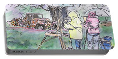 Portable Battery Charger featuring the drawing Au Plein Air by Michele A Loftus