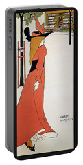 Aubrey Beardsley - Girl In Red Gown - Vintage Advertising Poster Portable Battery Charger