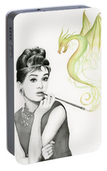 Audrey And Her Magic Dragon Portable Battery Charger by Olga Shvartsur