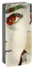Audrey Half Face Portrait Portable Battery Charger by Mihaela Pater