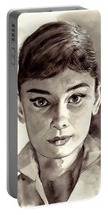 Audrey Hepburn Black And White Portable Battery Charger